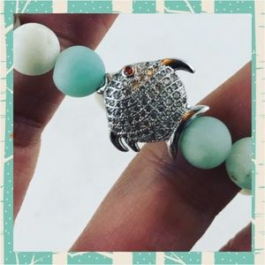 Matte Amazonite gems cz white gold plated fish